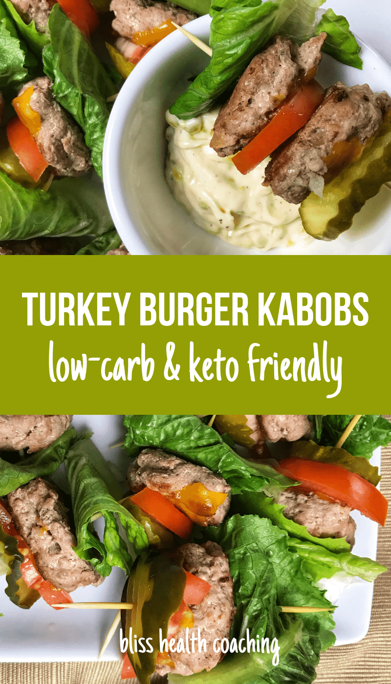 Looking for a low-carb snack or party food? You have to try these Low-Carb Turkey Burger Kabobs because they are juicy and delicious. Also perfect for anyone eating gluten-free recipes. #lowcarbsnack #turkeyburgerkabobs #turkeykabobs